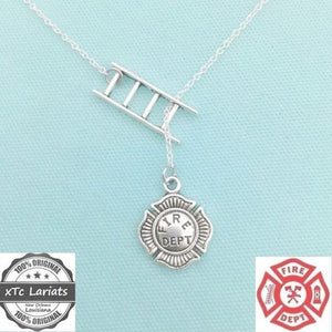 One of a Kind FIREFIGHTERS Silver Lariat Necklace.
