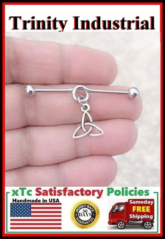Irish Trinity Symbol Charm Surgical Steel Industrial.