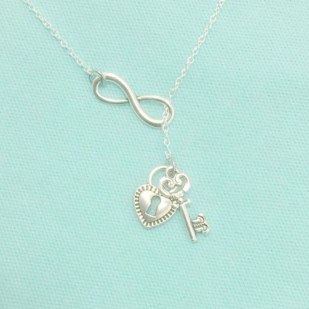 "Gorgeous Vintage LOCK and KEY Silver Charms with INFINITY ""Y"" Lariat Necklace."