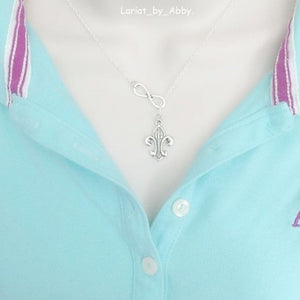 French Fleur de lis Handcrafted Necklace Lariat Style.
