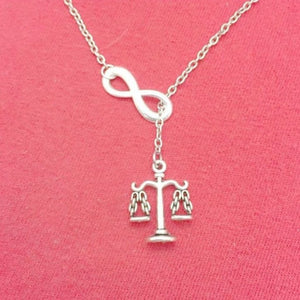 "Beautiful LADY JUSTICE (Law Scale) Silver Charm ""Y"" Lariat Necklace."