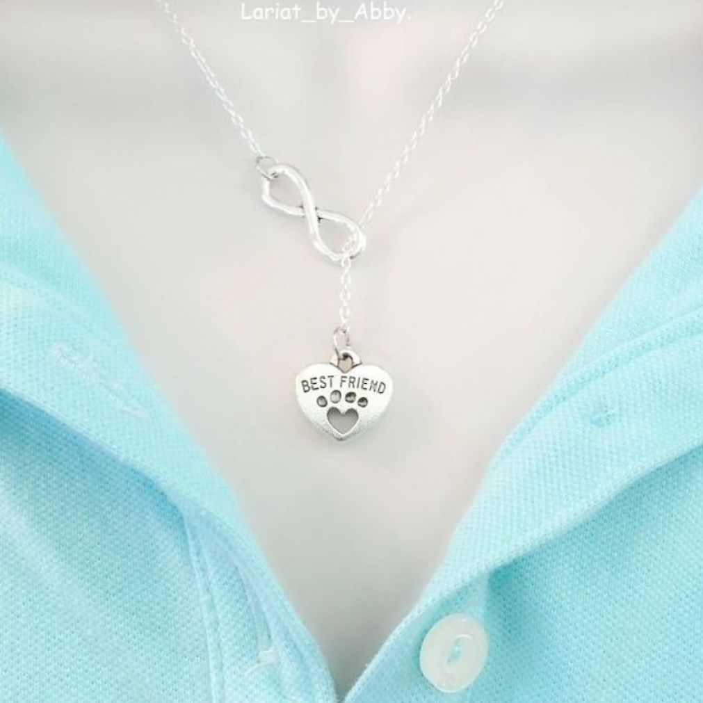 Dog's Paw & Infinity Handcrafted Necklace Lariat Style.