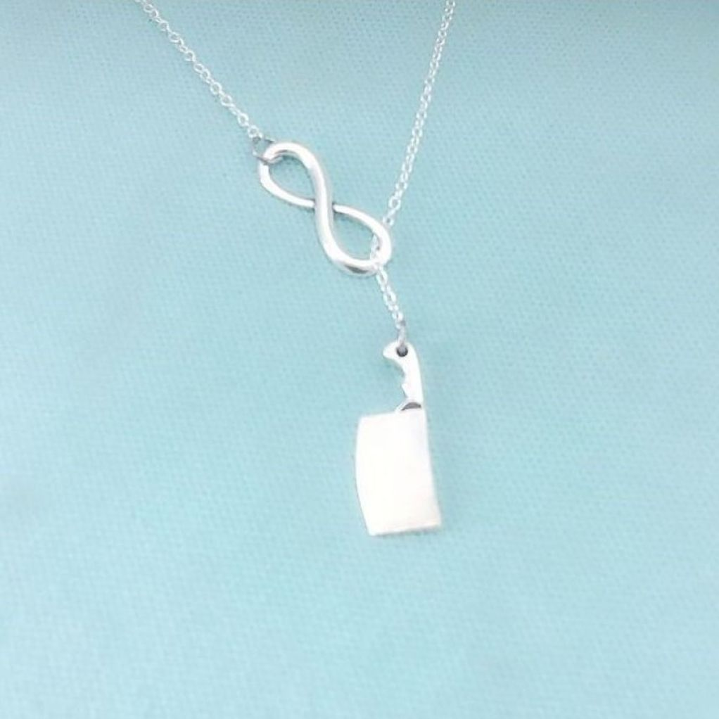 "Beautiful Meat Cleaver Silver Charm ""Y"" Lariat Necklace."