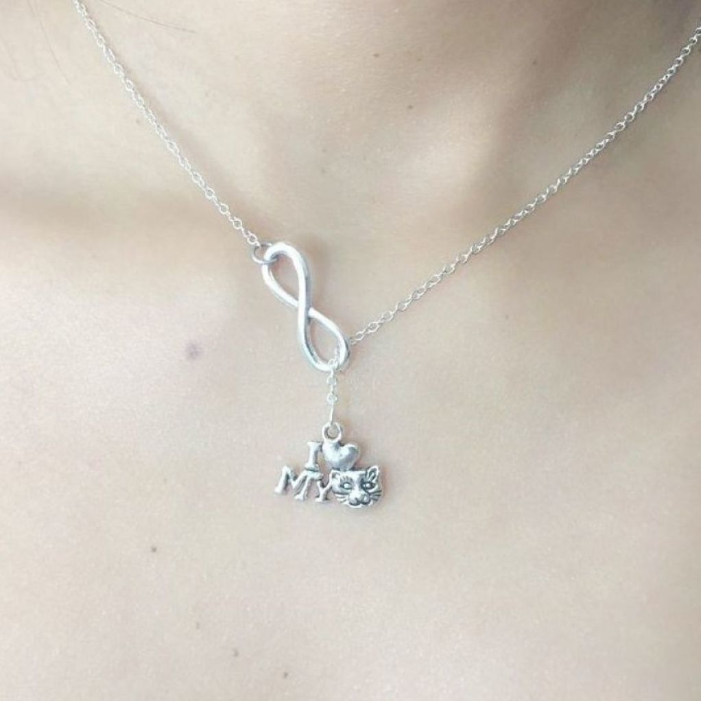 "Gorgeous "" I Love My Cat"" Silver Charm ""Y"" Lariat Necklace."