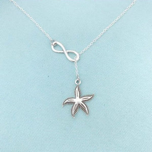Beautiful Antique Silver StarFish Necklace Lariat Style.