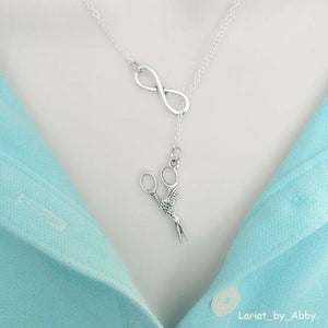 Vintage Stork Scissors & Infinity Handcrafted Necklace Lariat Style.