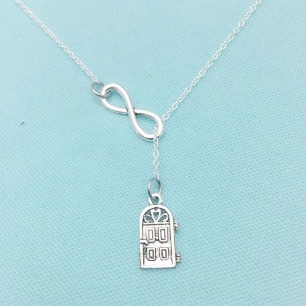 Home Sweet Home Door & Infinity Necklace Lariat Style. Realtor Gift.