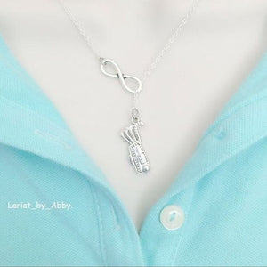 Golf Bag & Infinity Handcrafted Necklace Lariat Style.
