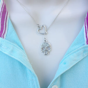 I Love Skull Silver Lariat Y Necklace.
