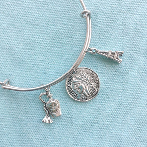 French Coin & 2 Charms Silver Adjustable Bangle Bracelet.