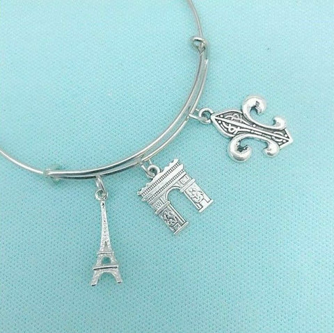 Eiffel Tower & 2 Charms Silver Adjustable Bangle Bracelet.