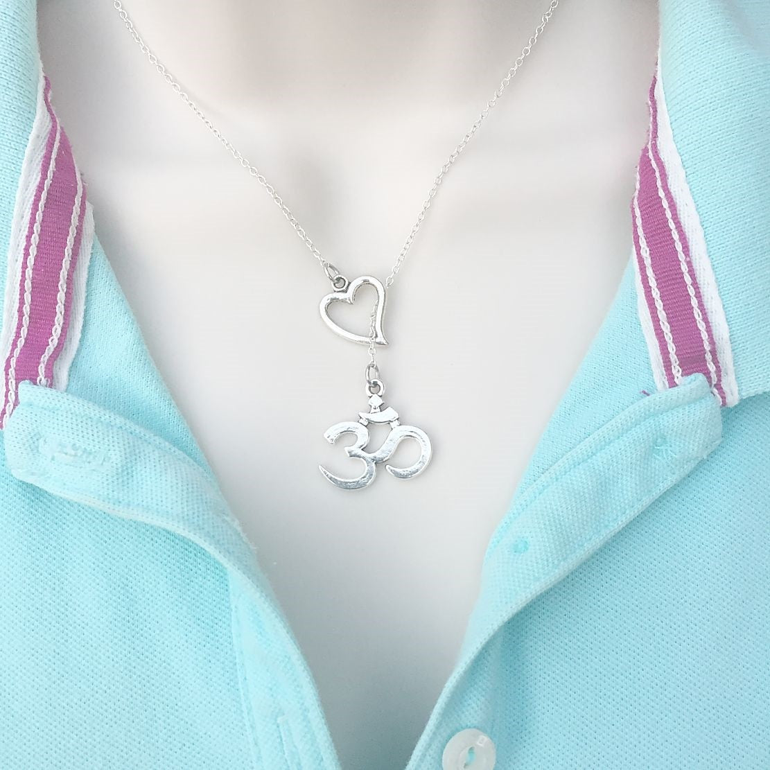 I Love OM Silver Lariat Y Necklace.