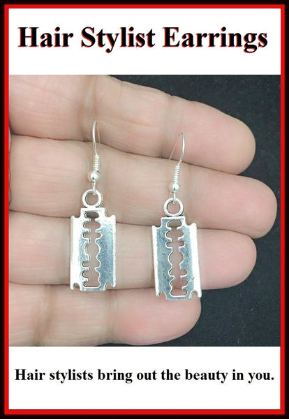 Hair Stylist Handcraft Shaving Blade Charm Dangle Earrings.