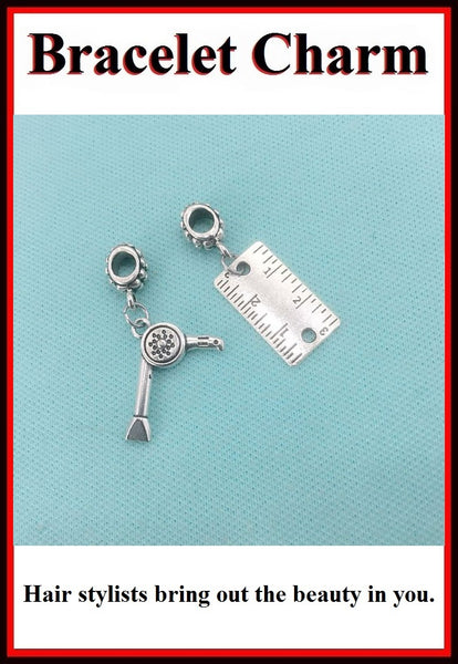 "Hair Stylist Handcraft 1"" Ruler and Dryer Charms Bead for Bracelets."