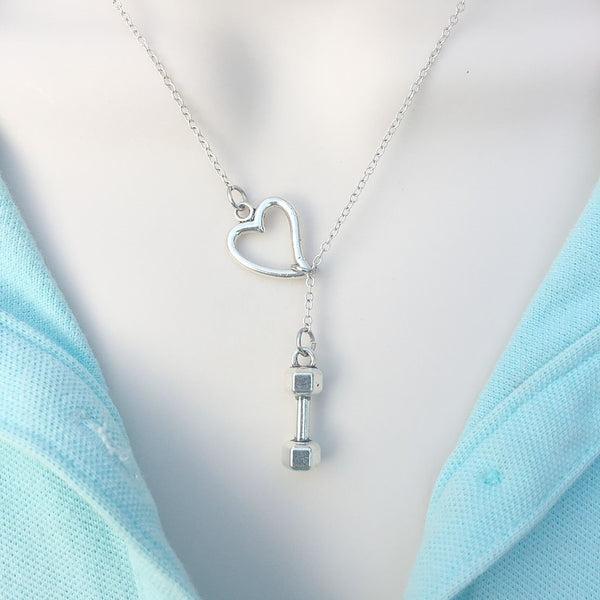 I Love CrossFit; Dumbbell Silver Lariat Y Necklace.