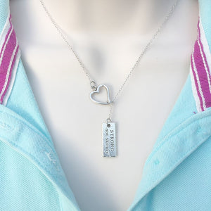 I Love CrossFit Sign Silver Lariat Y Necklace.