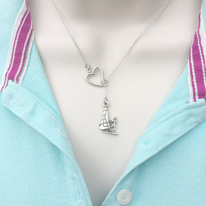 I Love the Sea, Sailing Silver Lariat Y Necklace.