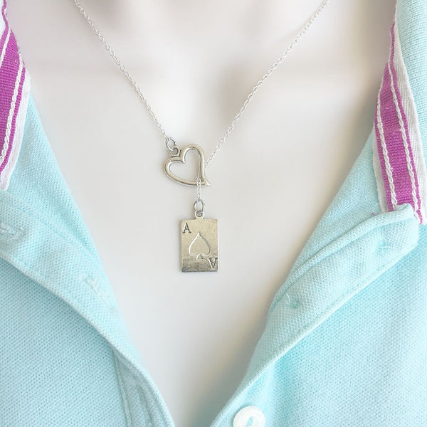 BLACKJACK Lovers; ACE Card Silver Lariat Y Necklace.