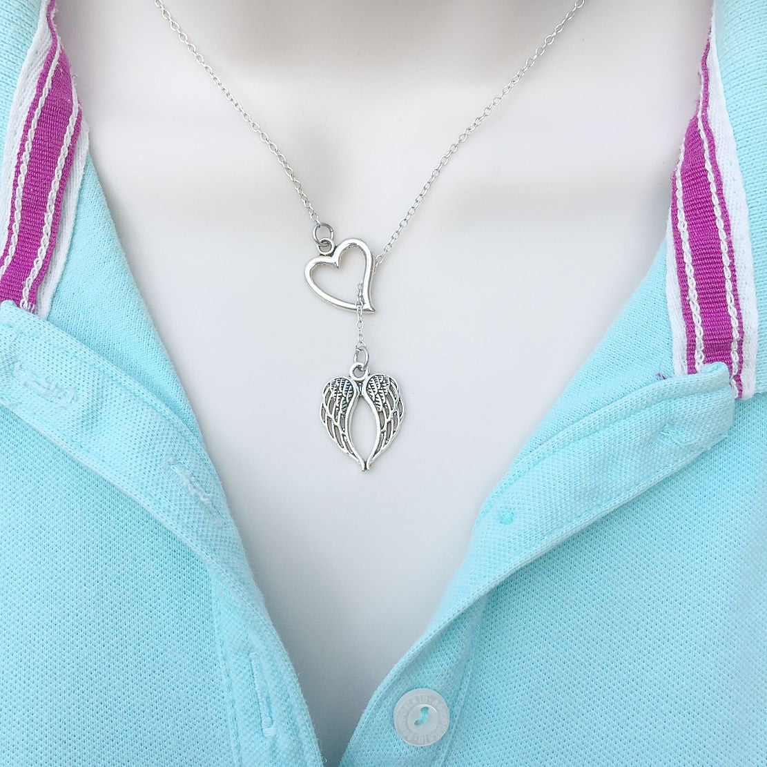 Stunning Angel Wings Silver Lariat Y Necklace.