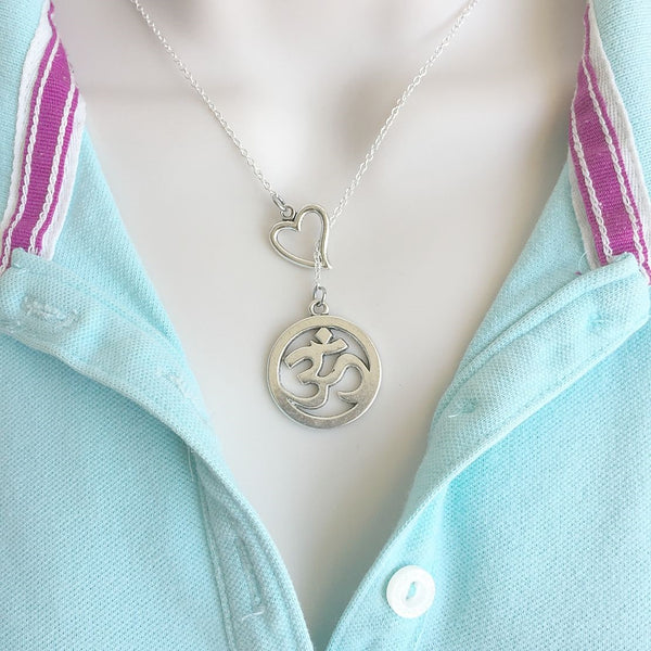 "Large 1"" Om Yoga Silver Lariat Y Necklace."