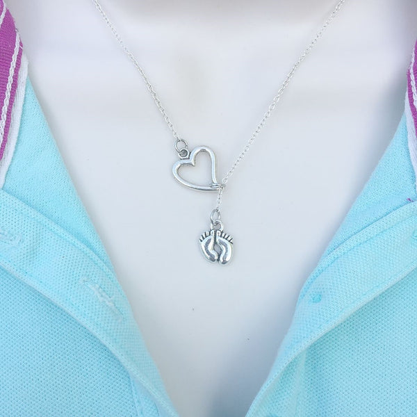 Love New Born Baby Feet Silver Lariat Y Necklace.