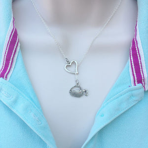 I love Wine; Wine Bottle Necklace Lariat Style.