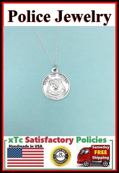 SERVE and PROTECT POLICE Silver Necklace