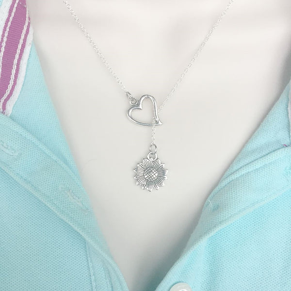 I Love Flowers Daisy Silver Lariat Y Necklace.