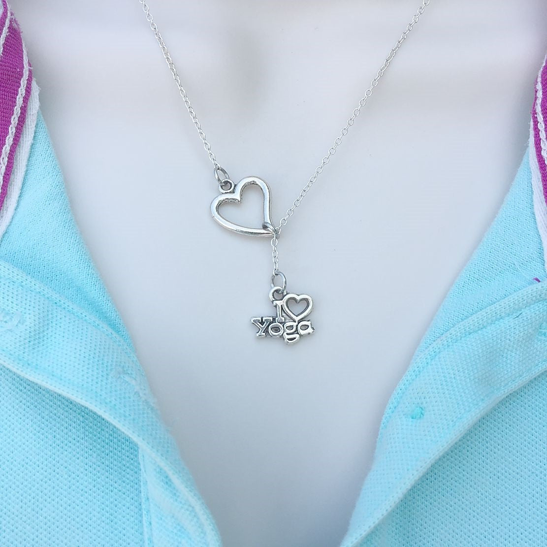 """I Love Yoga"" Charm  Silver Lariat Y Necklace."