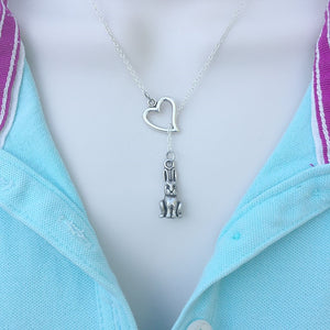 RABBIT Charm  Silver Lariat Y Necklace.