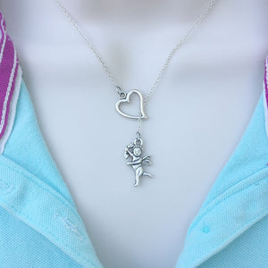 CUPID Charm  Silver Lariat Y Necklace.