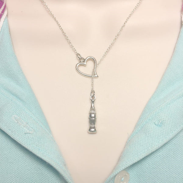 I Love Coke Handcrafted Lariat Y Necklace. Perfect Gift for Coke Lover.