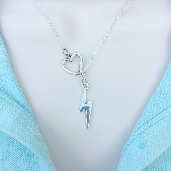 David Bowie RIP Lightning Bolt Silver Lariat Y Necklace.