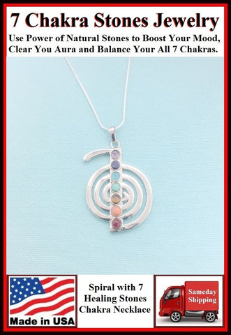 "7 Chakra Stones on SPIRAL CHARM with 18"" & 24"" Necklace."