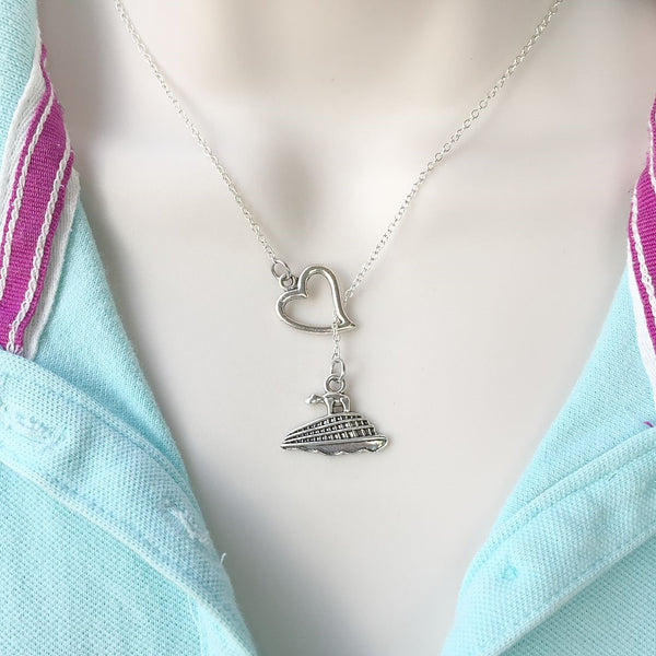 Love Cruise: Liner Charm Silver Lariat Y Necklace.