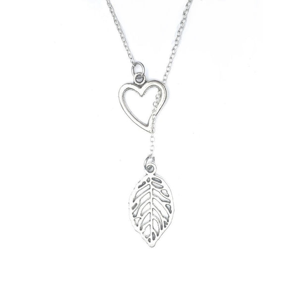 Beautiful Hallow Leaf Charm Silver Lariat Y Necklace.