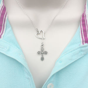 Flower CROSS Charm Silver Lariat Y Necklace.