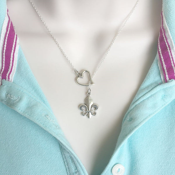 Beautiful Plain Fleur de Lis Silver Lariat Y Necklace.