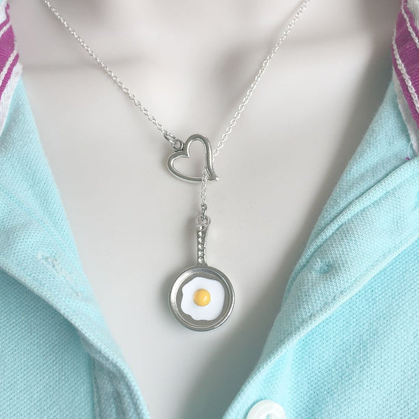 CHEF COOK; Fry Pan w Egg Silver Lariat Y Necklace.