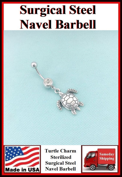 Pretty Turtle Silver Charm Surgical Steel Belly Ring.