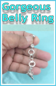 Beautiful Silver Charms Surgical Steel Belly Ring.