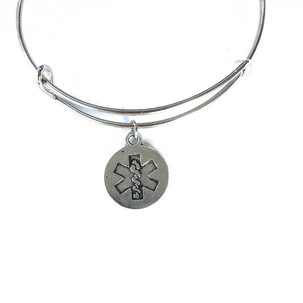 EMT Caduceus Charm Expendable Bangle.