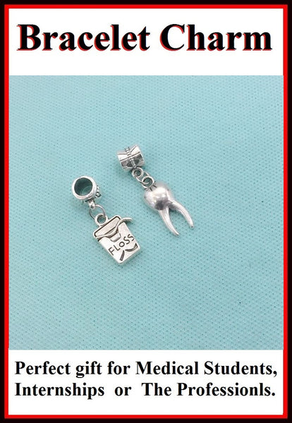 Medical Bracelet Charms : Tooth and Floss Box Charms.