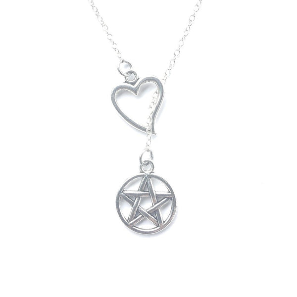 I Love Supernatural Pentagram Handcrafted Necklace Lariat Style.