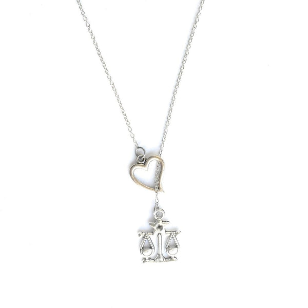 SCALE OF JUSTICE Charm Silver Lariat Y Necklace.