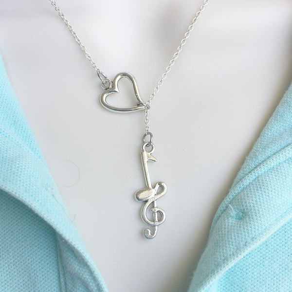 MUSIC LOVERS: Music Notes Charm Silver Lariat Y Necklace.