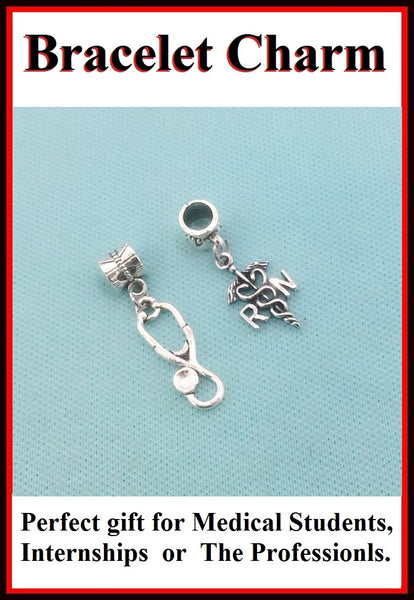 Medical Bracelet Charms : Registered Nurse and Stethoscope Charms.