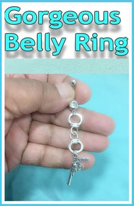 Beautiful 2 Silver Charms Surgical Steel Belly Ring.