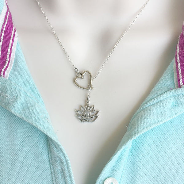 I Love Yoga Pose with Lotus Silver Lariat Y Necklace.