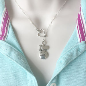Basketball Lover Charm Silver Lariat Y Necklace.